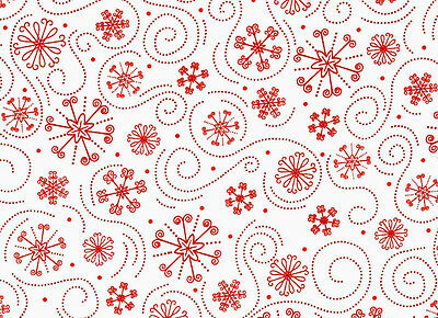 HOLLY JOLLIES SNOWFLAKES  RED SWIRL QUILTING TREASURE  COTTON FABRIC  8