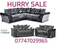South End r Sofa Suite 3+2 Or Corner in black grey leather & fabric