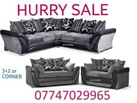 Summer Saving Sofa Suite 3+2 Or Corner in black grey leather & fabric
