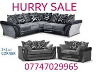 May Offer Sofa Suite 3+2 Or Corner in black grey leather & fabric