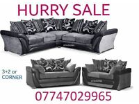 Northside Sofa Suite 3+2 Or Corner in black grey leather & fabric