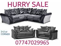 Wow Offer Sofa Suite 3+2 Or Corner in black grey leather & fabric