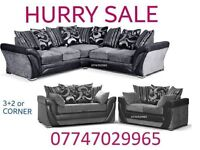 Big OFFEr Sofa Suite 3+2 Or Corner in black grey leather & fabric