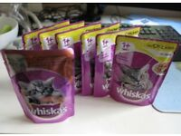 Whiskas 1 years Chicken Pouches 100g x 6 pouches and rustling cat toy