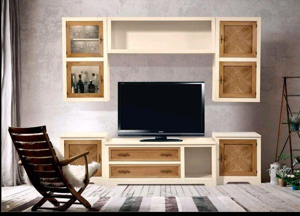 Parete attrezzata avorio e noce sospesa intarsiata classica soggiorno libreria - Parete attrezzata classica prezzi ...