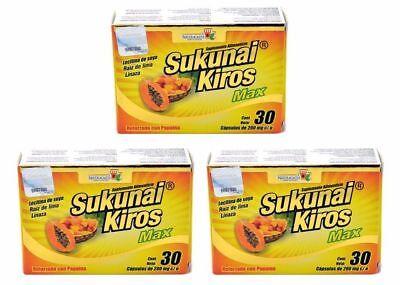 3 pack- SUKUNAI KIROS MAX W/ AFRICAN MANGO MEXICAN VERSION 90 CAPS EXP 2022 - Max 90 Caps