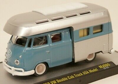 M2 Machines 1959 Volkswagen Double Cab Truck Camper VW Van Blue/Silvr 1:64 Scale for sale  Shipping to Canada