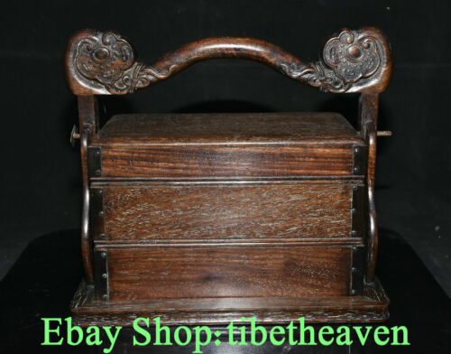 "10.4"" Old Chinese Huanghuali Wood Hand Carved Palace Portable Ruyi Food Box"