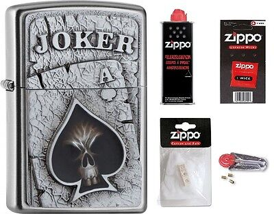 ZIPPO Benzin Feuerzeug satin finish Emblem Joker mit oder ohne Zubehör nach Wahl