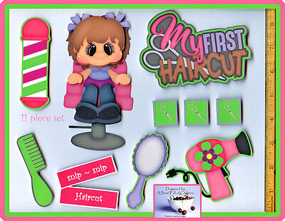 MY FIRST HAIRCUT ~ girl premade scrapbook pages 11 pc 3D paper piecing ~ CHERRY