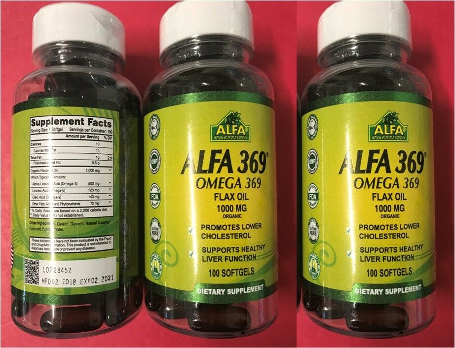 Alfa Vitamins 369 Omega 3 6 9 XL Flax Oil 1000 mg 2 x 100 softgels ORGANIC OMEGA