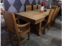 Stunning HUGE 8' Foot Keen Pine Dining Table & 8 Chairs UK Delivery