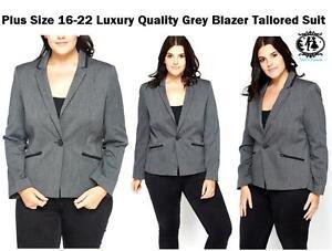 LADIES-LARGE-PLUS-SIZE-14-26-BLACK-GREY-BLAZER-TAILORED-SUIT-COAT-JACKET-FORMAL