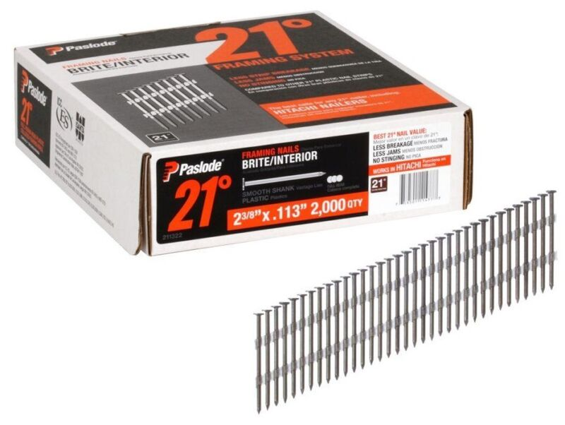Paslode 211322 Brite Smooth Shank Plastic Collated Framing Nails, 21 Degree