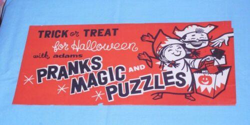 vintage ADAMS PRANKS MAGIC and PUZZLES trick treat HALLOWEEN SIGN store display