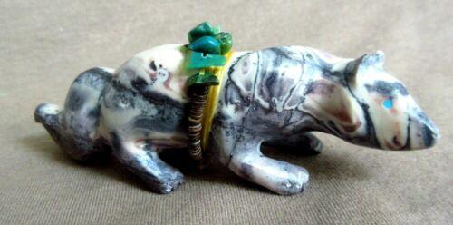 Native Zuni Calming Porcelain Jasper Coyote Fetish by Christopher Sandoval C3377