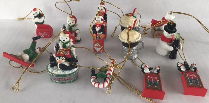 """Coca Cola Christmas Ornaments Lot Of 14 Plastic Miniature Ornaments 2"""""""