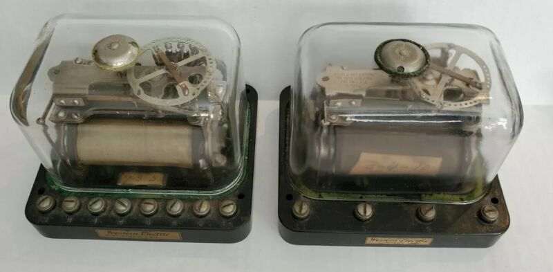 Antique Western Electric 60A & 60BP Railroad Telephone Relays Glass Covers