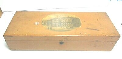ANTIQUE MAUCHLINE TRANSFER WARE  WOODEN BOX CLIFTONVILLE HOTEL MARGATE