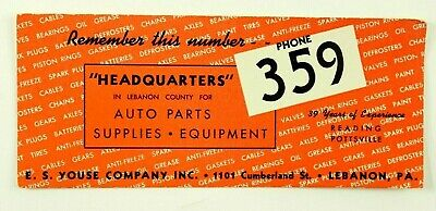 Vintage E.S. Youse Auto Parts Lebanon PA Ink Blotter Advertising