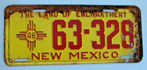 """1946 NEW MEXICO AUTO  LICENSE PLATE """" 63 328 """" NM 46 ALL ORIGINAL CONDITION"""