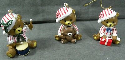 Vintage Candy Cane Teddy Bear Christmas Holiday Ornament Set Resin New