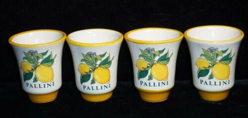 ( 4 ) Pallini Limoncello ITALIAN DERUTA POTTERY Shot Glass Cups SET - NEW UNUSED