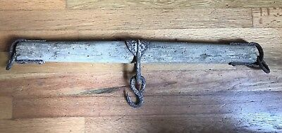 "Antique horse yoke oxen single tree rustic wall hook barn decor iron wood 24"""