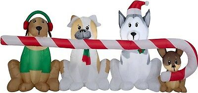 Christmas Airblown Inflatable Puppies Sharing A Big Candy Cane Scene