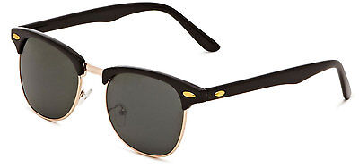 Classic Clubmaster Sunglasses  Retro 1980's Vintage Black & Gold Round UV400