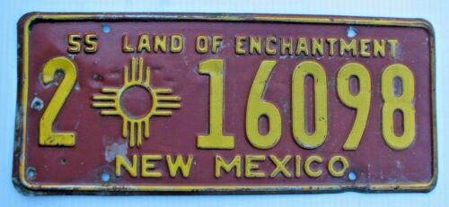 """1955 NEW MEXICO AUTO  LICENSE PLATE """" 2  16098 """" NM 55 ALL ORIGINAL CONDITION"""