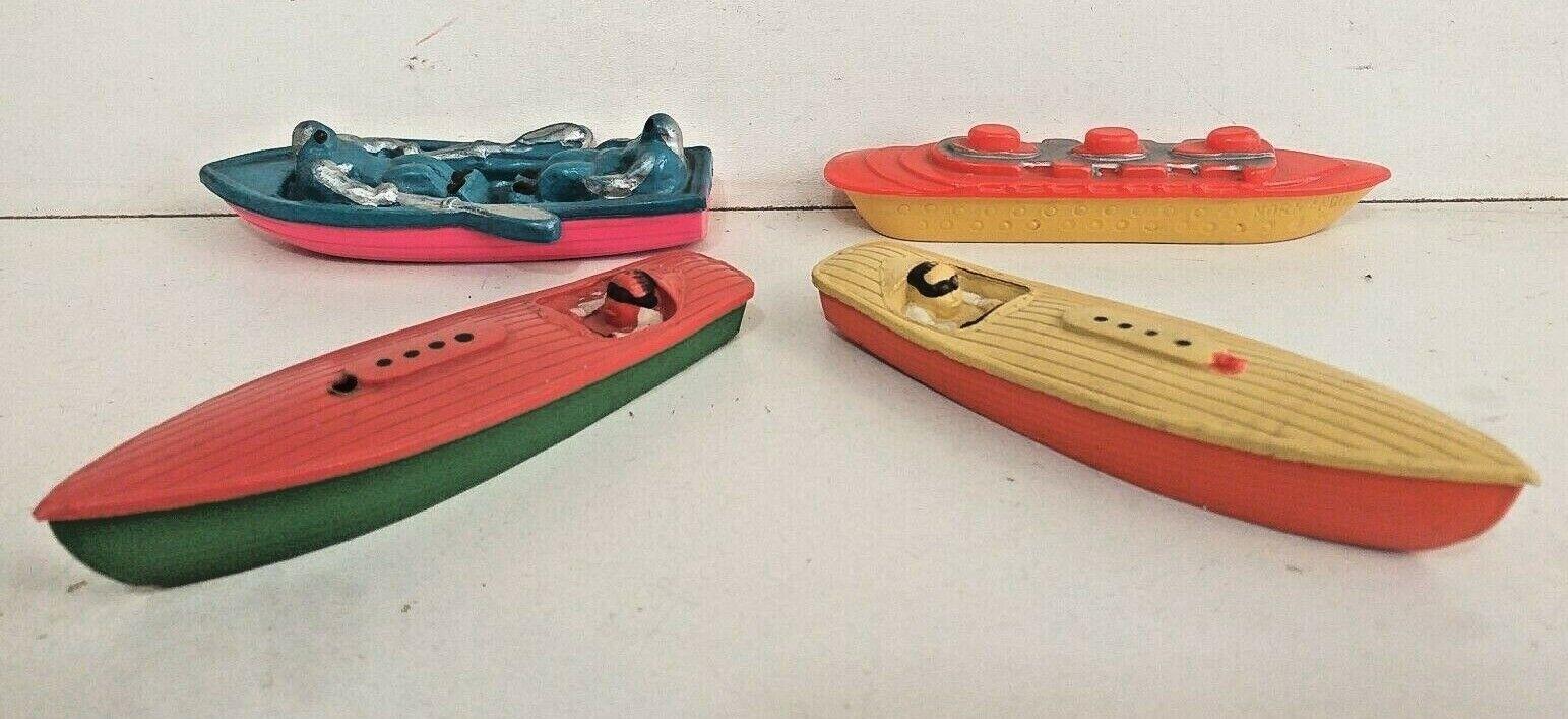 Lot 4 bateaux celluloïd canot automobile paquebot barque jouet ancien 1930