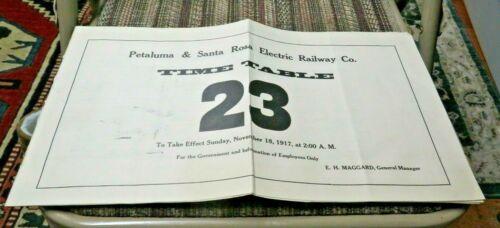 1917 Petaluma & Santa Rosa Electric Railway Co. Employee Timetable - ETT