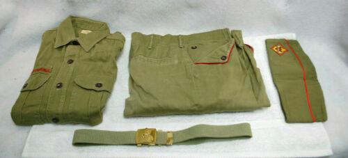 Boy Scouts Vintage 4 Piece Green Uniform Long Sleeve Shirt,Pants,Belt,Hat  S9424