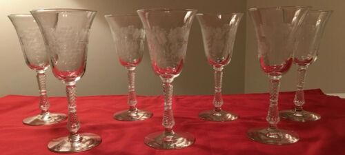 "Set of 7 Vintage Etched Glass 8"" Water/Wine Goblets Stemware"