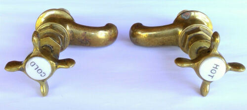 *PAIR* Antique 1800's BRASS & Porcelain Sink Faucets HOT + COLD Handles Taps