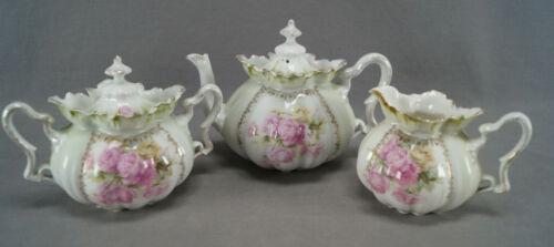 RS Prussia Royal Vienna Mold 505 Pink Yellow Roses & Gold Teapot Creamer & Sugar