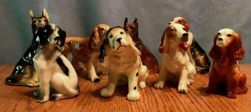 Vintage Lot of 8 Dog Figurines Shepherd Boxer Spaniels Golden Retriever