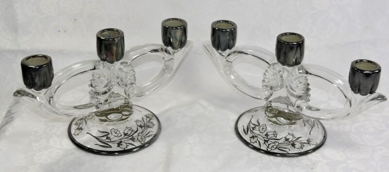 STERLING CANDLEHOLDERS DUNCAN & MILLER CANTERBURY ROCKWELL