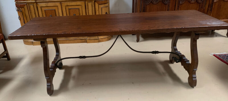 Antique Oak Spanish Rustic Farmhouse Dining Table Trestle Wrought Iron Thick Top
