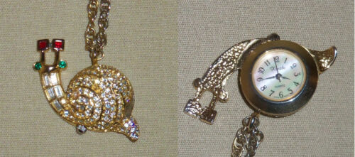 Xanadu Snail Necklace Watch Rhinestones Mother of Pearl Face Chain Gold Tone