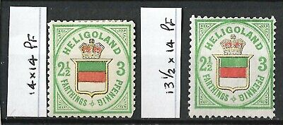 HELGOLAND 1876 2½/3F/Pfg Coat of Arms, Mint, MH 14x14 and 13.5x14 Perforations