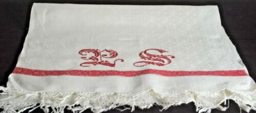 Antique LINEN DAMASK TOWEL with Large REDWORK Monogram VV151