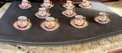 Gorgeous Antique Rigo & Cie porcelain Napoleon portrait cups and Saucers - 10