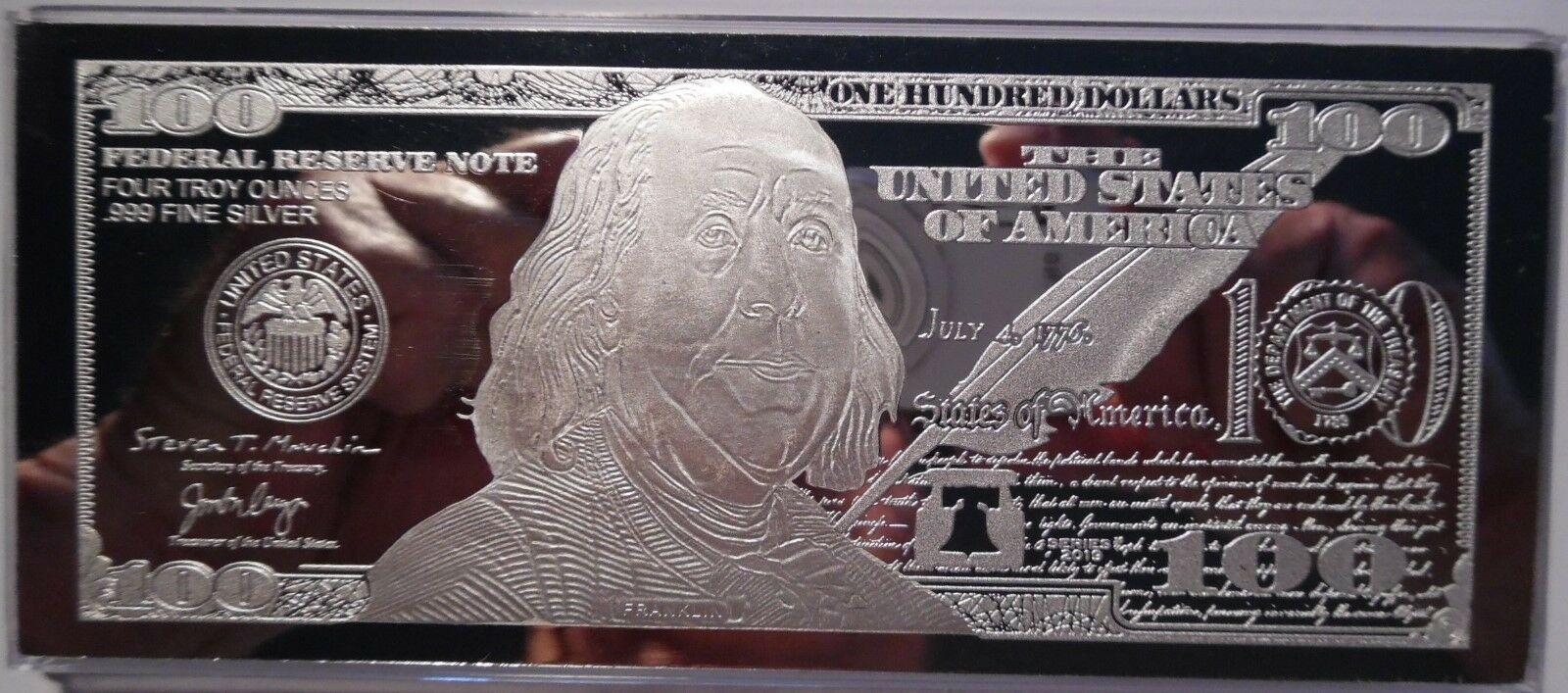 DISCOUNTED 2019 FRANKLIN $100 4 oz .999 CURRENCY SILVER BAR + COA ~ IMPERFECTION