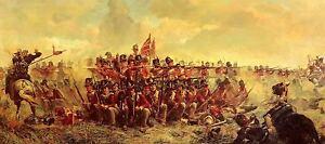 BATTLE OF WATERLOO NAPOLEON WELLINGTON QUATRE BRAS MOUNTED PRINT WAR MILITARY