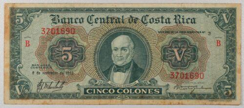 COSTA RICA BANKNOTE 5 Colones... P-227... VF DETAILS...1962
