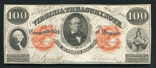 1862 $100 DOLLARS VIRGINIA TREASURY NOTE RICHMOND, VA OBSOLETE NOTE ABOUT UNC