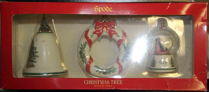 Spode 3pc christmas tree ornament set - bell, wreath, snow globe