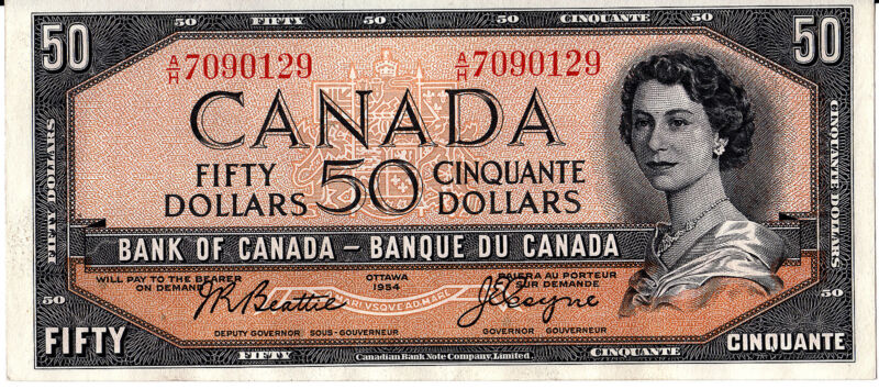 BANK OF CANADA  1954 $50.00  -CHOICE  UNCIRCULATED